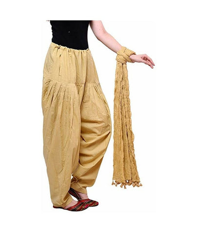Beige Color Cotton Women's Patiala - pla004