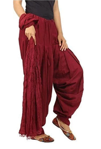 Maroon Color Cotton Women's Patiala - pla007