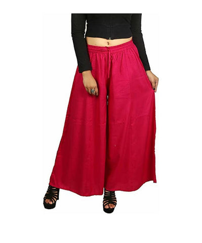 Red Color Rayon Women's Palazzo - plz002