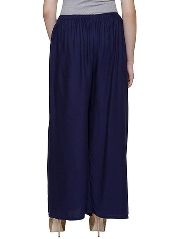 Navy Blue Color Rayon Women's Palazzo - plz007