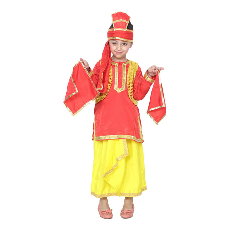 Red Color Cotton Blend Fancy Costume Dress  - punabi boy-1