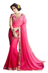 Pink Color Georgette Silk Saree