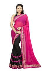 Pink Color Faux Georgette Sraee
