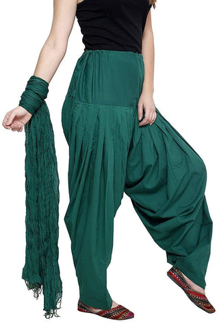 COMBOS - Rama Color Cotton Stitched Women Patiala Pant With Duppata - Rama