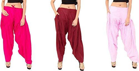 COMBOS - Multi Color Cotton Stitched Women Patiala Pants - ranimaroonpink