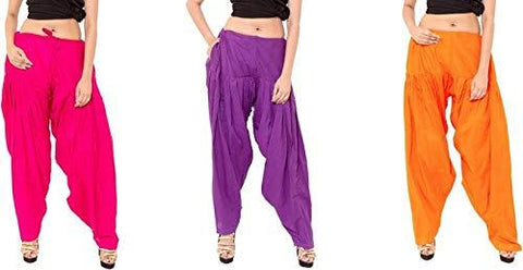 COMBOS - Multi Color Cotton Stitched Women Patiala Pants - ranipurpleorange
