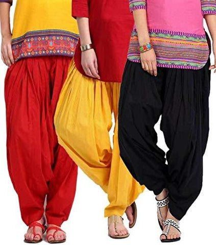 COMBOS  - Red And Yellow And Blk Color Cotton Stitched Women Patiala Pants - red_yellow_blk