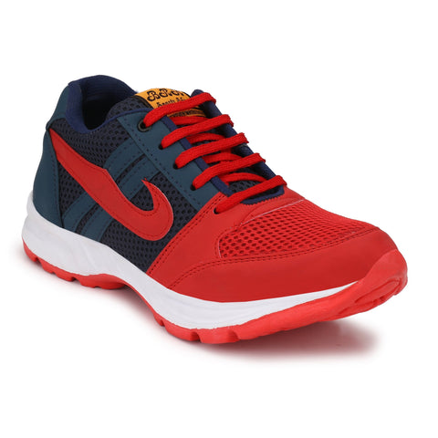 Red And Blue Color Synthetic Mens canvas Casual shoe - redblueBhidchal