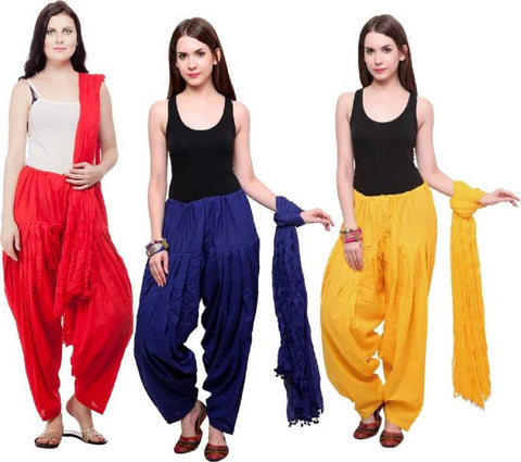 COMBOS - Redblueyellow Color Cotton Stitched Women Patiala Pants With Dupata - Redblueyellow