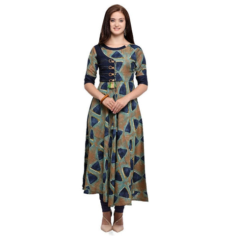 Multi Color Full Stitched Heavy Rayon Cotton Kurti - rel173