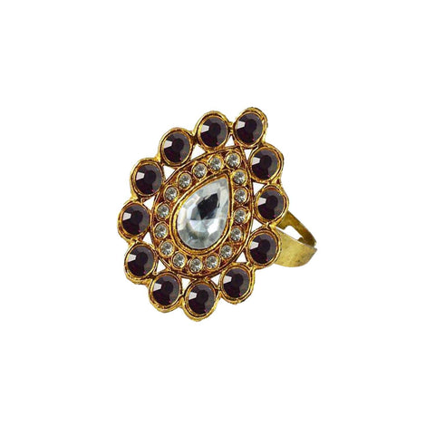 Multi Color Brass Stone Stud Gold Platted Ring - rin166