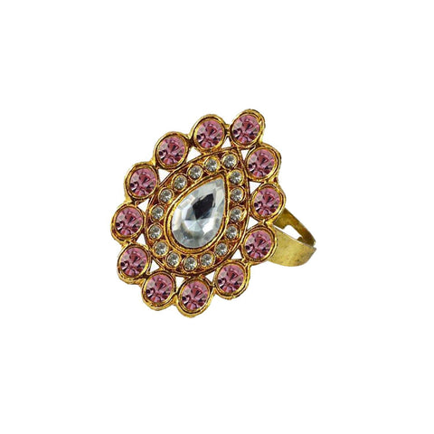 Multi Color Brass Stone Stud Gold Platted Ring - rin167