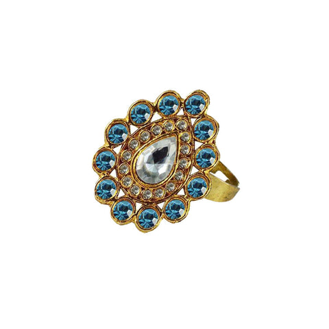 Multi Color Brass Stone Stud Gold Platted Ring - rin168