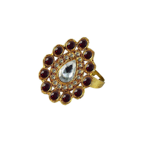Multi Color Brass Stone Stud Gold Platted Ring - rin169