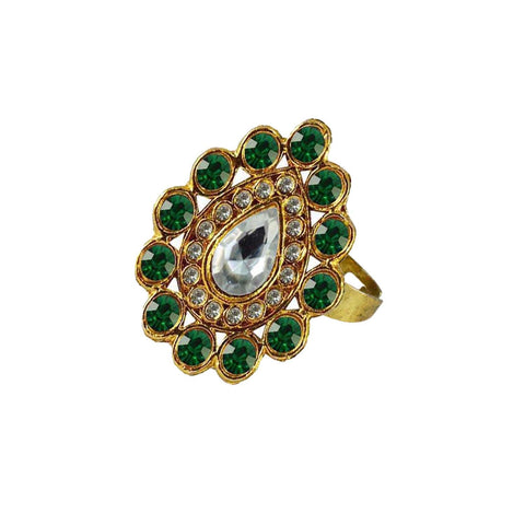 Multi Color Brass Stone Stud Gold Platted Ring - rin170