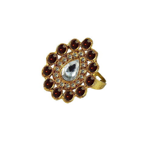 Multi Color Brass Stone Stud Gold Platted Ring - rin171
