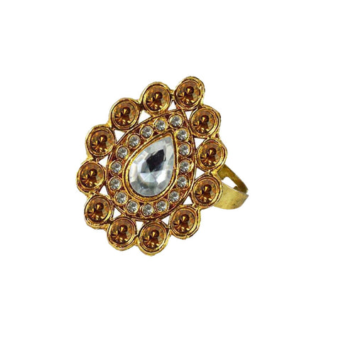 Multi Color Brass Stone Stud Gold Platted Ring - rin172