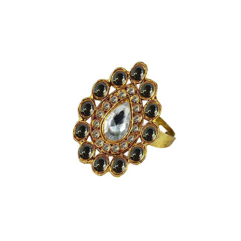Multi Color Brass Stone Stud Gold Platted Ring - rin173