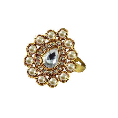 Multi Color Brass Stone Stud Gold Platted Ring - rin174