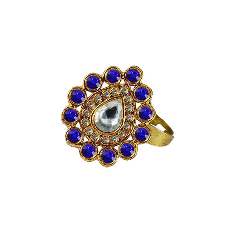 Multi Color Brass Stone Stud Gold Platted Ring - rin175