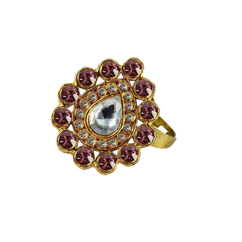 Multi Color Brass Stone Stud Gold Platted Ring - rin176