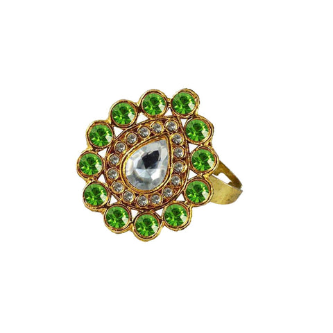 Multi Color Brass Stone Stud Gold Platted Ring - rin177