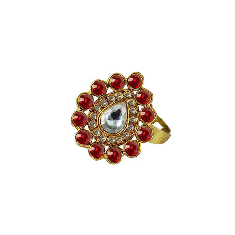 Multi Color Brass Stone Stud Gold Platted Ring - rin178
