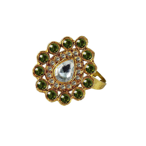 Multi Color Brass Stone Stud Gold Platted Ring - rin179