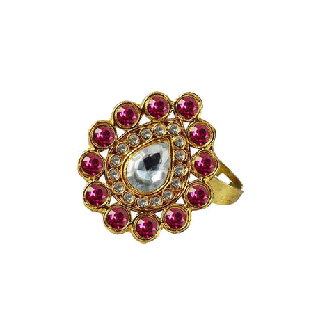 Multi Color Brass Stone Stud Gold Platted Ring - rin180