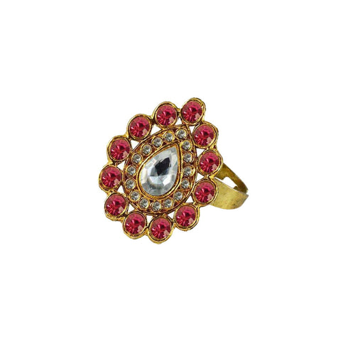 Multi Color Brass Stone Stud Gold Platted Ring - rin181