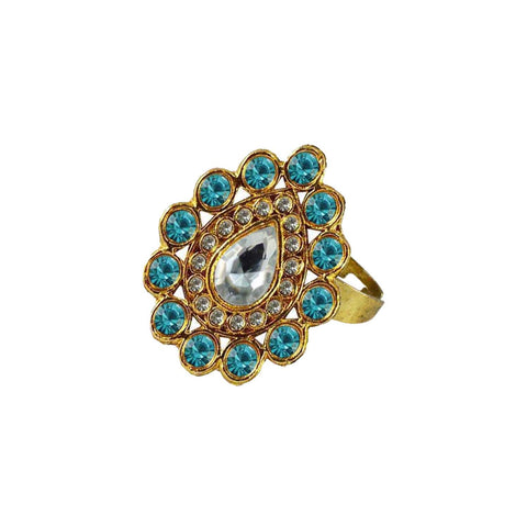 Multi Color Brass Stone Stud Gold Platted Ring - rin182