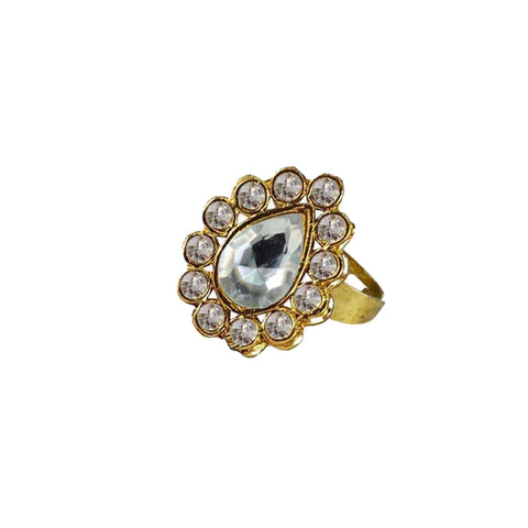 Multi Color Brass Stone Stud Gold Platted Ring - rin183