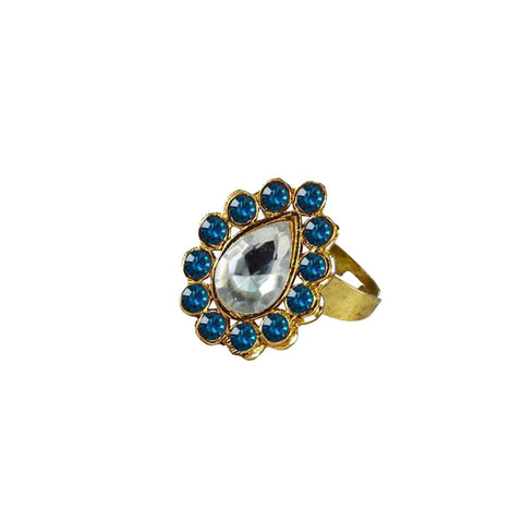 Multi Color Brass Stone Stud Gold Platted Ring - rin184
