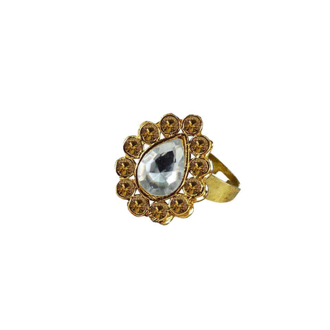 Multi Color Brass Stone Stud Gold Platted Ring - rin185