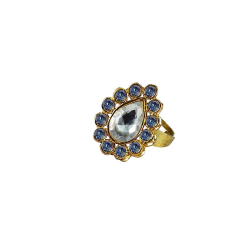 Multi Color Brass Stone Stud Gold Platted Ring - rin186