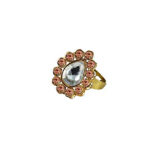 Multi Color Brass Stone Stud Gold Platted Ring - rin187