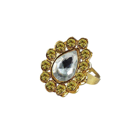Multi Color Brass Stone Stud Gold Platted Ring - rin188
