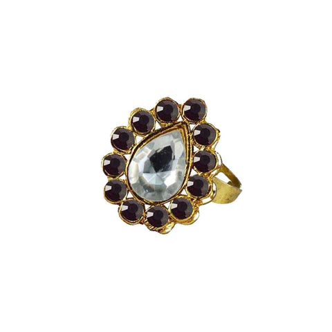 Multi Color Brass Stone Stud Gold Platted Ring - rin189