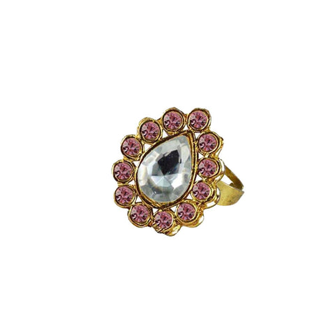 Multi Color Brass Stone Stud Gold Platted Ring - rin190