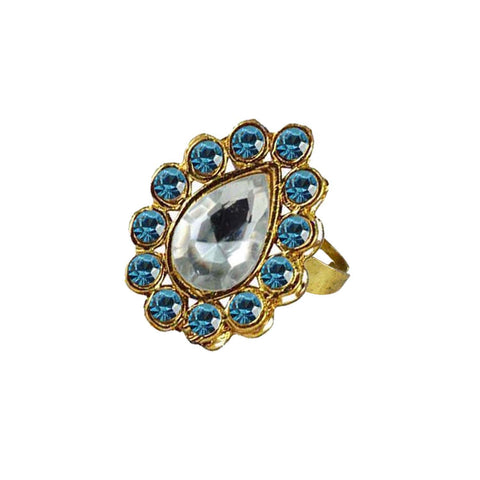 Multi Color Brass Stone Stud Gold Platted Ring - rin191