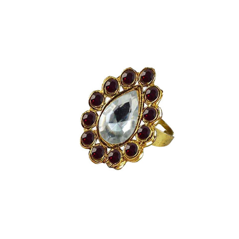 Multi Color Brass Stone Stud Gold Platted Ring - rin192