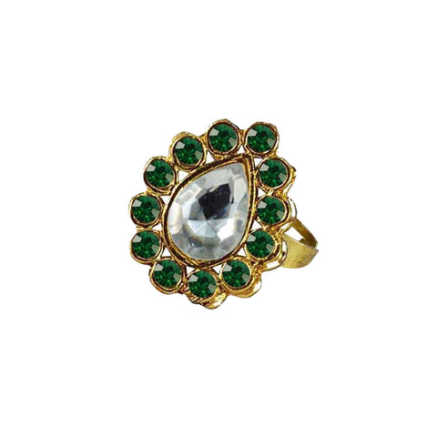 Multi Color Brass Stone Stud Gold Platted Ring - rin193