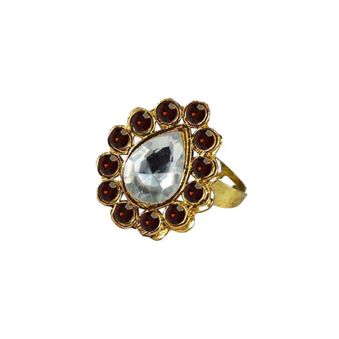 Multi Color Brass Stone Stud Gold Platted Ring - rin194