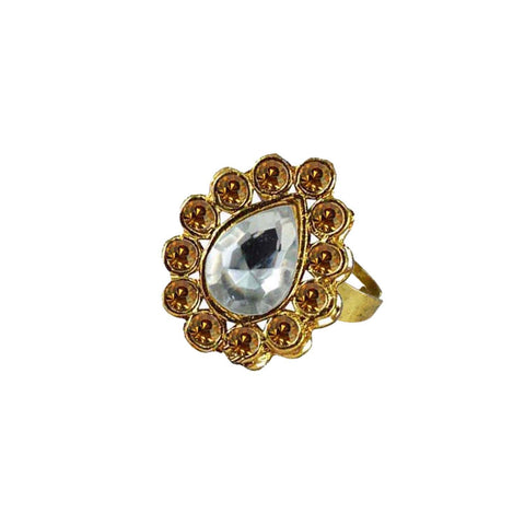 Multi Color Brass Stone Stud Gold Platted Ring - rin195
