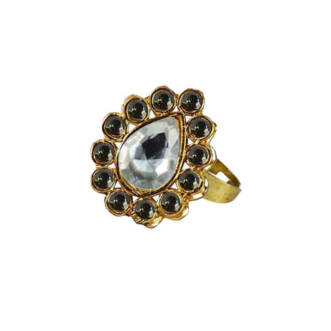 Multi Color Brass Stone Stud Gold Platted Ring - rin196