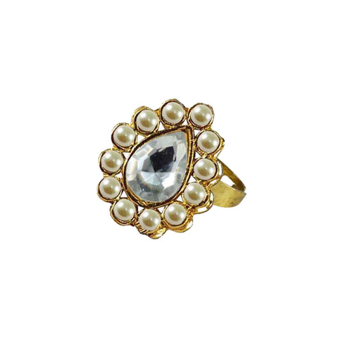 Multi Color Brass Stone Stud Gold Platted Ring - rin197