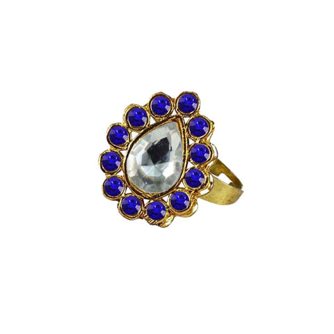 Multi Color Brass Stone Stud Gold Platted Ring - rin198