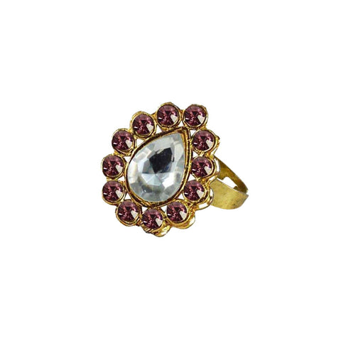 Multi Color Brass Stone Stud Gold Platted Ring - rin199