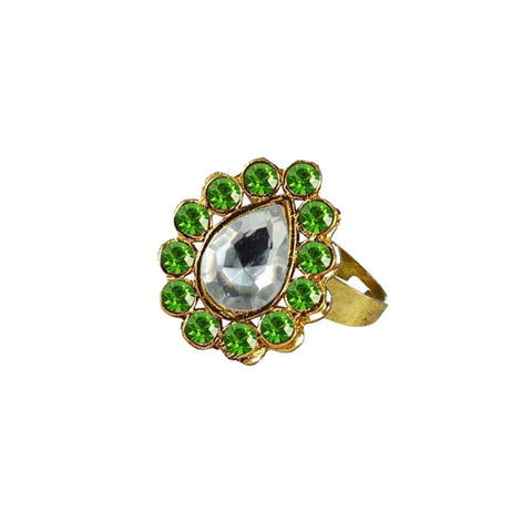 Multi Color Brass Stone Stud Gold Platted Ring - rin200