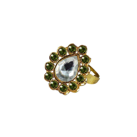 Multi Color Brass Stone Stud Gold Platted Ring - rin202